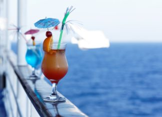 Sipping cocktails on the deck of a cruise ship